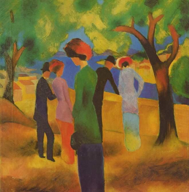 "August Macke ""Lady in a Green Jacket"" (1913)."