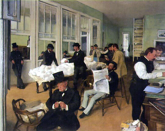 "Edgar Degas ""A cotton office in New Orleans"" (1873)."