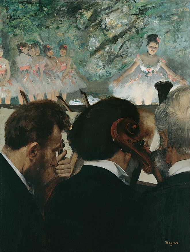 "Edgar Degas ""Musicians in the Orchestra"" (1872)."