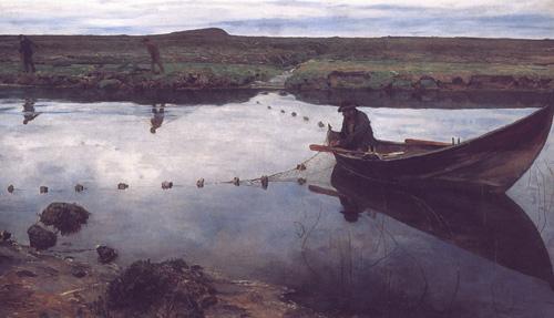 """Eilif Peterssen """"Laksefiskeren"""" (1889)."""