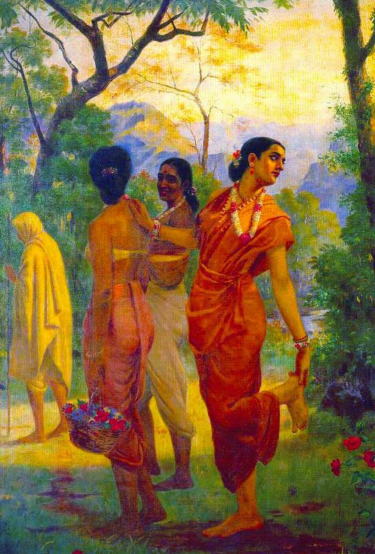 """Raja Ravi Varma """"Shakuntala columbia"""" (1870)."""
