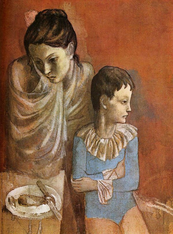 """Pablo Picasso """"Mother and Child Acrobats"""" (1904-1905)."""