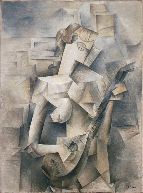 "Pablo Picasso ""Girl with Mandolin (Fannie Tellier)"" (1910)."