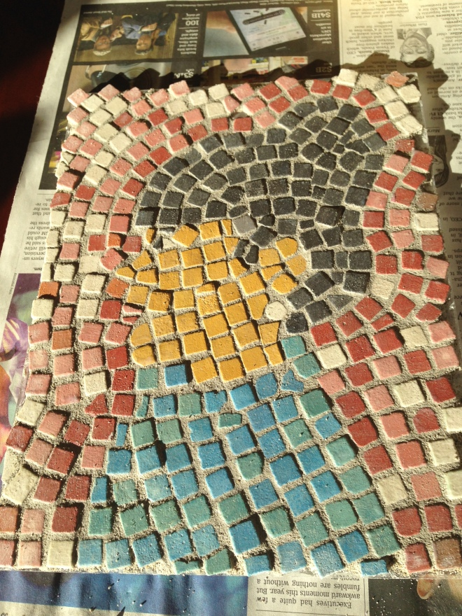 The grouted mosaic. Time to polish.
