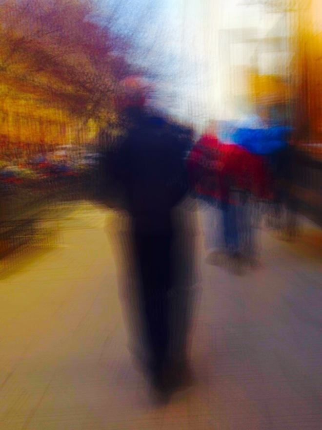 I am walking down town during the lunch hour and use the motion blur setting to capture the man walking in front of me as I am walking as well. There were a few people I wanted to photograph, but I was shy to ask them.