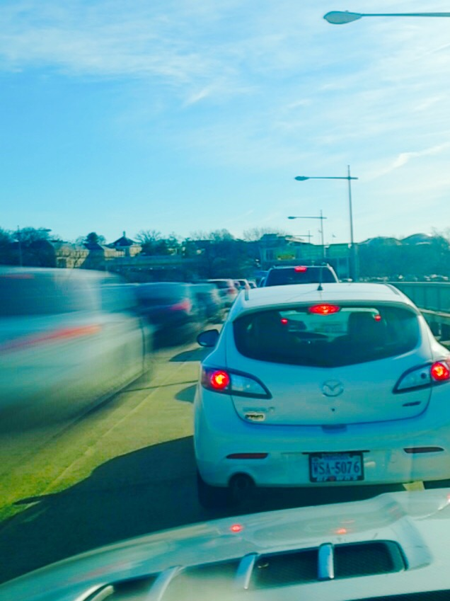 I am at a stand still on the I-66 bridge and the cars to the right of me are moving slowly. I used SlowShutter's motion blur setting with a 4 second shutter speed.